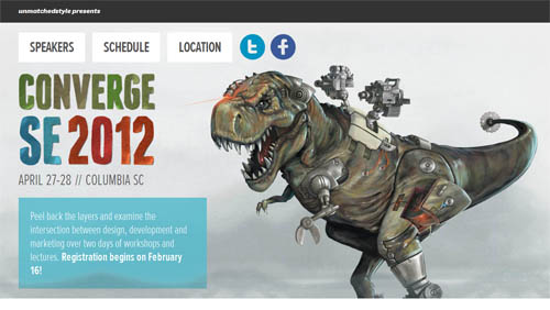 The Converge conference's cyborg T-rex styled homepage