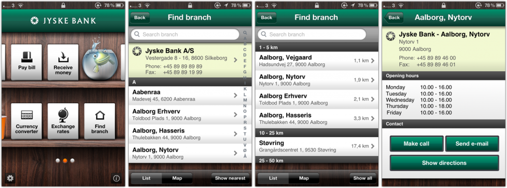 Jyske Bank's (a Danish bank) iPhone app finds the closest branch by using your iPhone's GPS