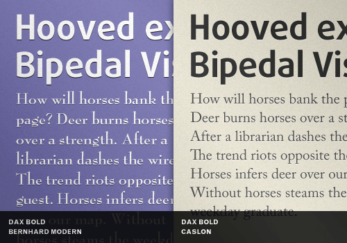 Contrast distinct typefaces with neutral ones