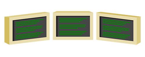 Three monitors for coding