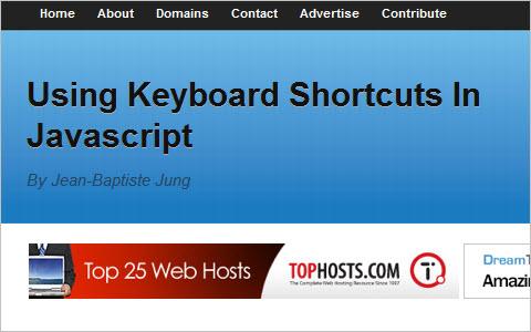 Using keyboard shortcuts in Javascript
