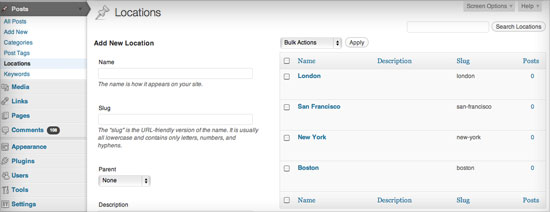 WordPress custom taxonomy: Posts by location