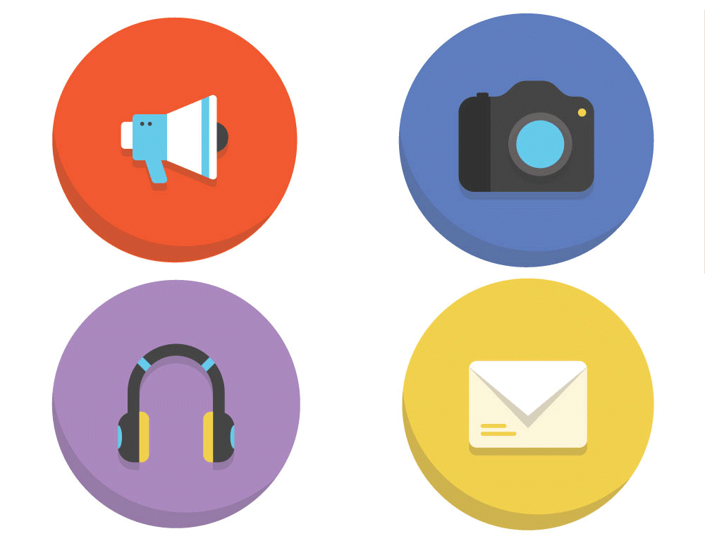 45 Colorful Flat Icons [Freebie]