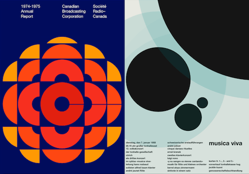 Two examples from Jon Yablonski's recreation of Swiss design classics with CSS.