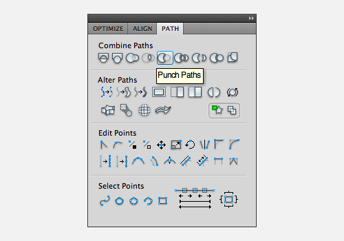 Punch paths command in the Path panel in Fireworks