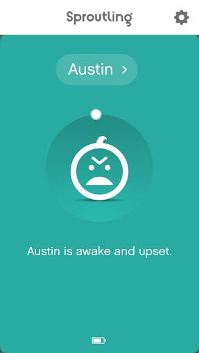 Screenshot of Sproutling app showing upset animation