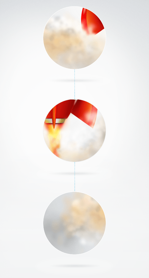 The three steps that illustrate how the smoke spreads out.