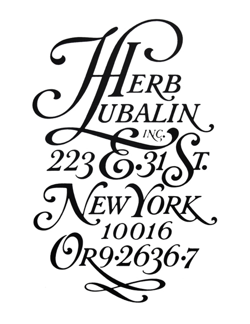 Lettering by Herb Lubalin displaying his studio address.