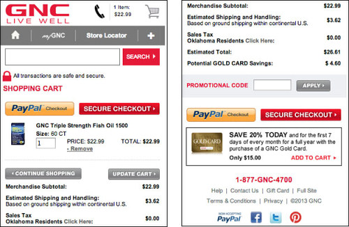 Social media links in GNC's shopping cart.