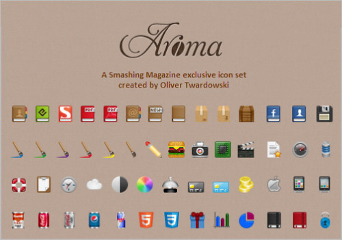 Free Icon Set For Web Designers: Aroma (250+ PNG Icons)