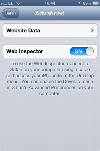 Turn Web Inspector on in the Settings menu.