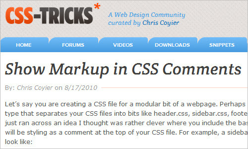 Show Markup in CSS Comments