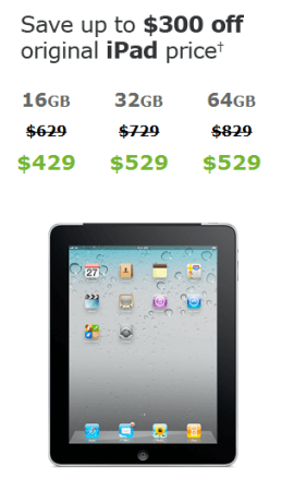 iPad sale from AT&T