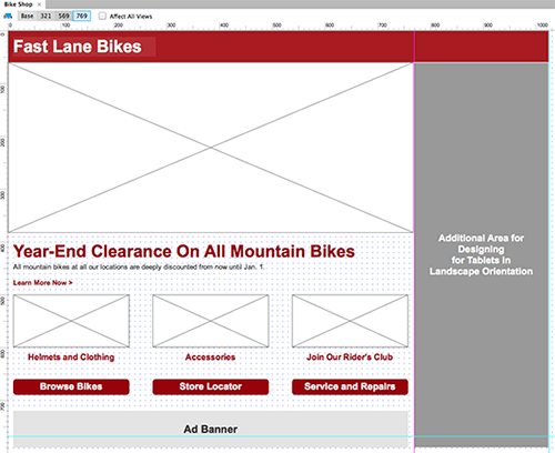 The view for tablets in landscape orientation