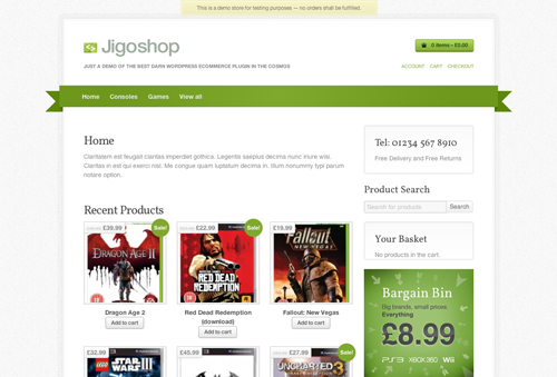 Jigoshop on the desktop uses a white background with dark grey text, green details, product images in a grid and a sidebar to the right.
