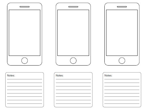 Free printable sketching wireframing and note taking pdf for Ipad grid template
