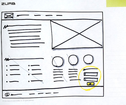 A sketch with nonessential parts marked out. Notice the call to action occupied only a small corner of the desktop design.