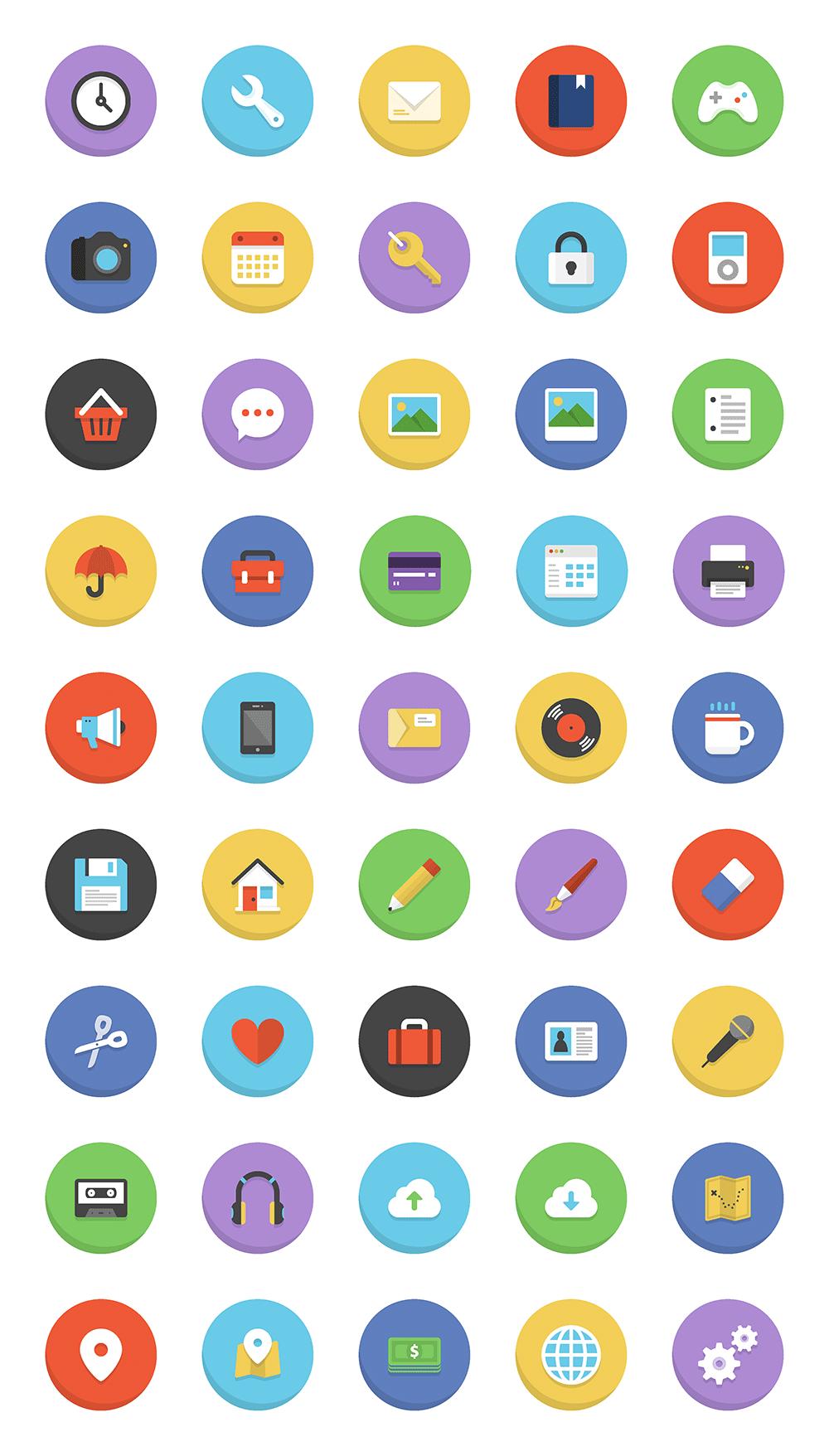 45 colorful flat icons  freebie   u2014 smashing magazine