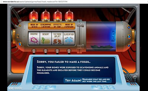 Wonderville learning game Fossil Master is for slightly older kids