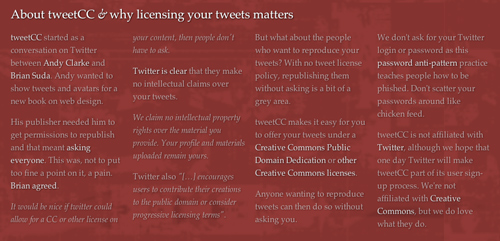 tweetCC's home page