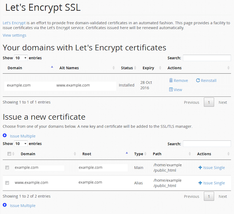 Your domain with Let's Encrypt certificates