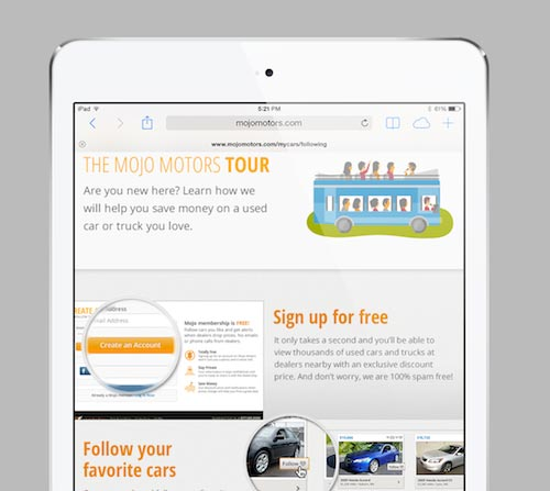 Mojo Motors tour screen on iPad tablet
