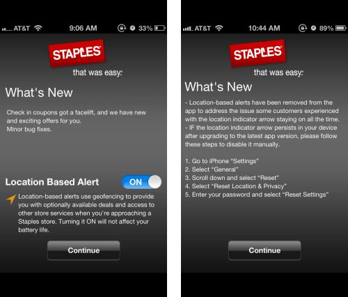 Staples app location based alert issue