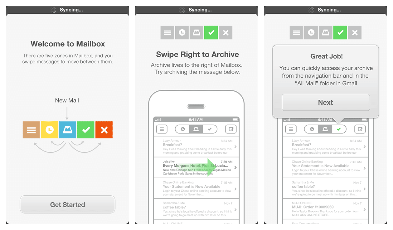Rethinking mobile tutorials which patterns really work mailbox for ios baditri Gallery