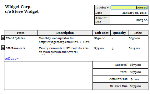 Editable/Printable Invoice, Version 2