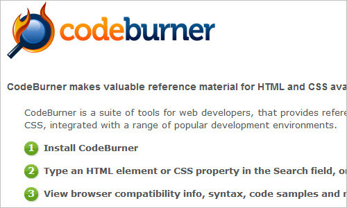 CodeBurner - Reference Tool for Web Developers