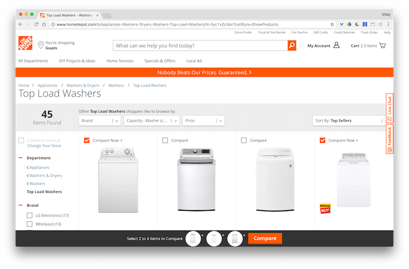 HomeDepot's feature comparison table, with grouped attributes.