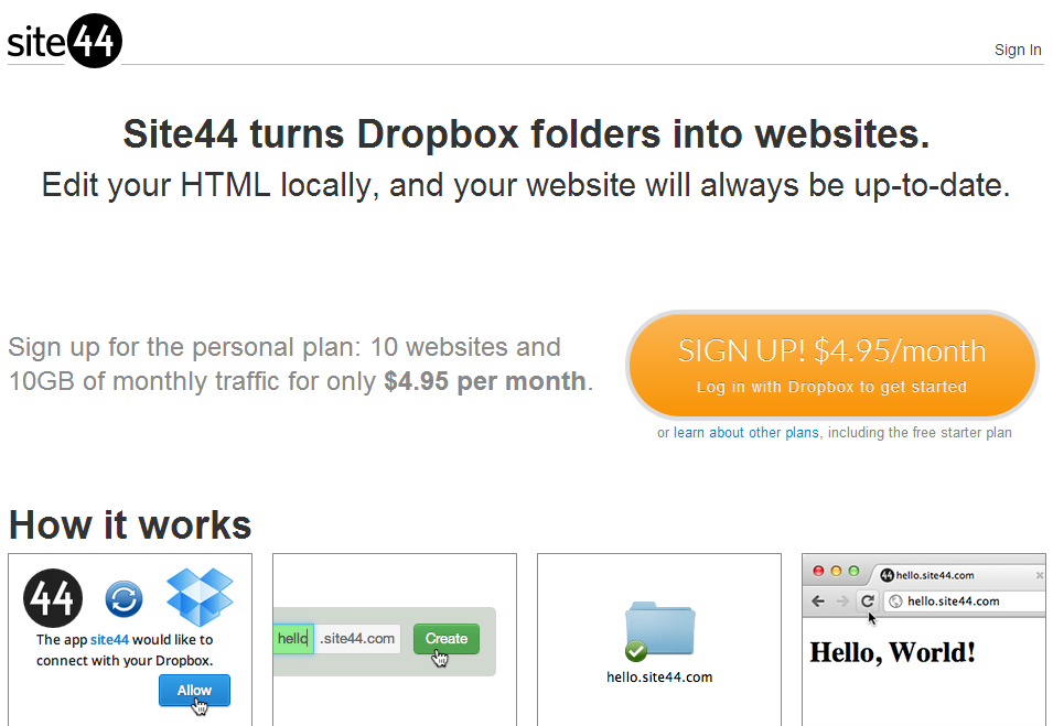 Site44 dropbox websites