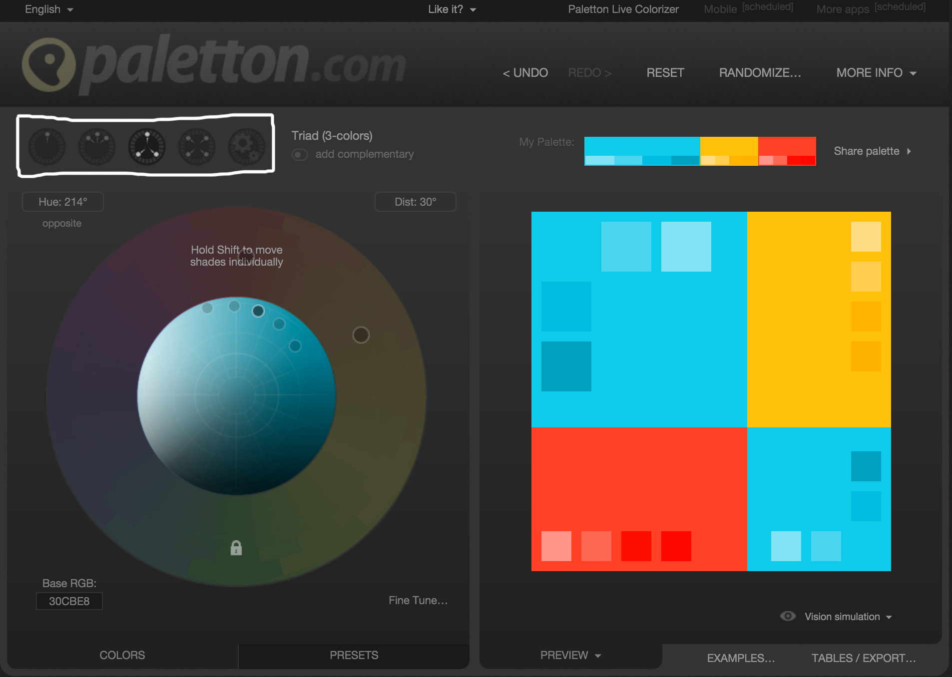 Screenshot Of Color Schemes In Paletton