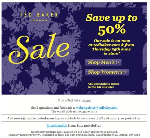 Ted Baker newsletter
