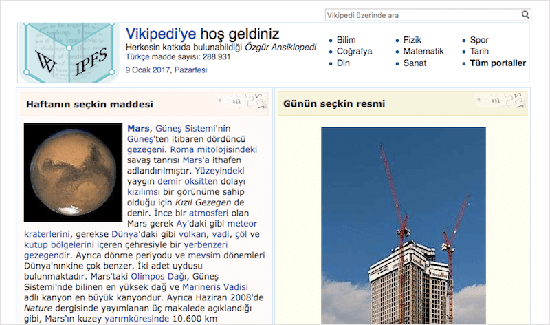 Turkish IPFS Wikipedia