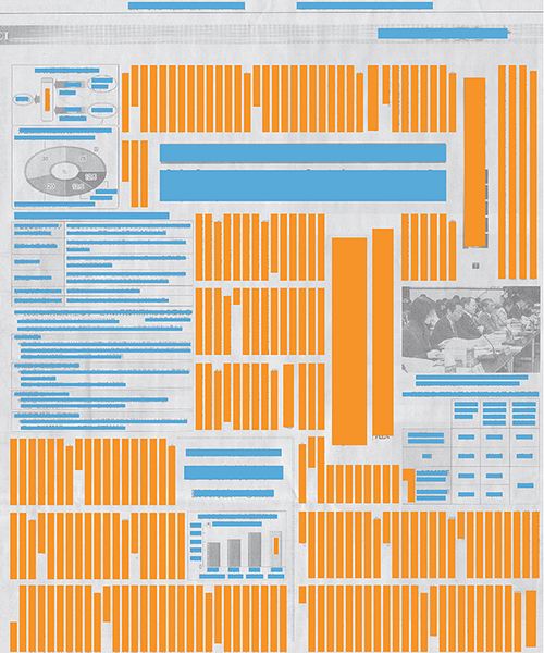 The same newspaper as above, but highlighting the vertical text (orange) and the horizontal text