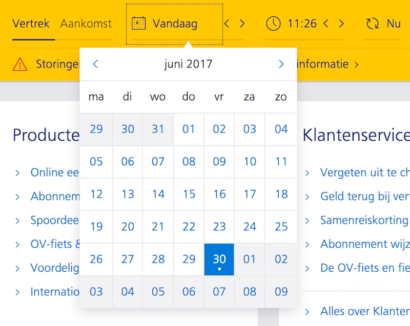 Ns.nl, a Dutch train tickets service, doesn't include the year picker in the calendar overlay. Notice that the actual date isn't displayed — instead a working day (Monday/Tuesday/etc.) is displayed. It also includes a mini-stepper for days, months and the time (5min jumps).