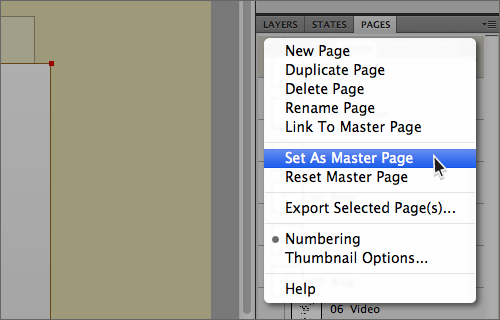 Creating your first Master page (Master page drop down menu)