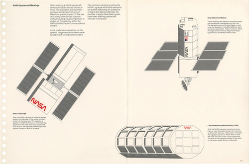A page from the NASA Graphics Manual depicting logo placement on a satellite.