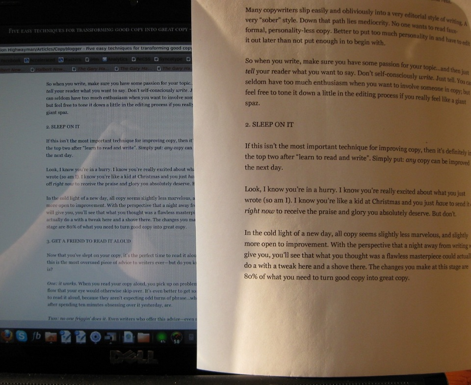16-pixel text displayed on a 15.4-inch screen, next to 12-point text printed on paper.