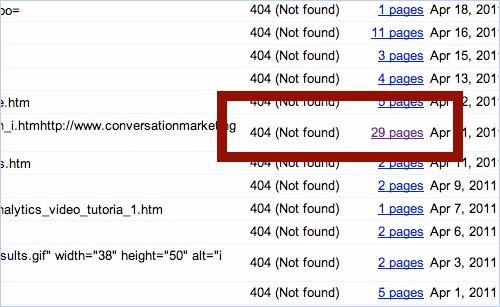 broken links in Google webmaster tools