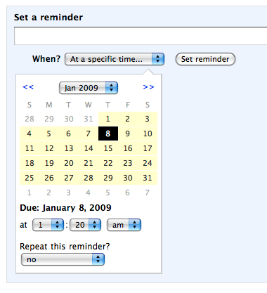 Backpack calendar picker