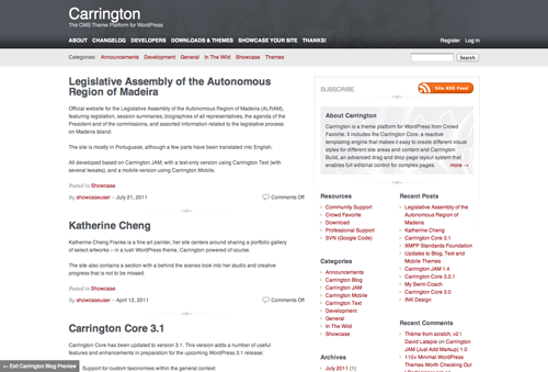 The desktop version of Carrington includes two sidebars to the right and some use of colour and graphics.