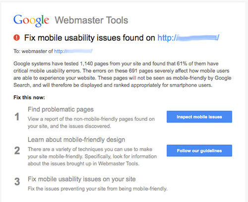 Mobile usability warning sent to owners of sites registered in Webmaster Tools