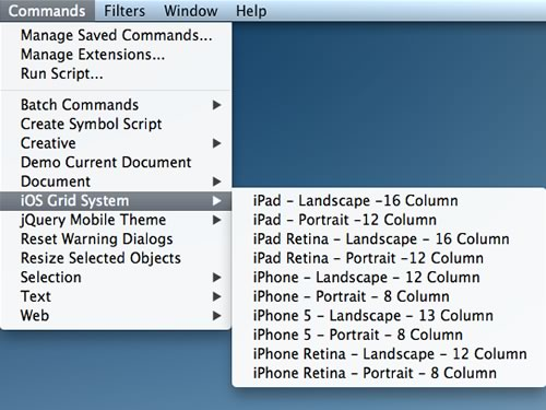 Here's how to find iOS Grid System in your Commands menu.