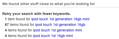 eBay suggests that I remove some keywords to broaden the search.