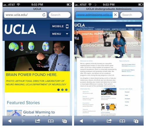 UCLA's responsive home page and non-responsive admissions page