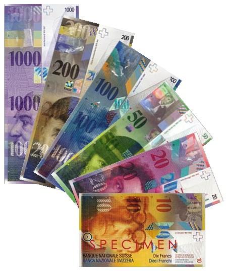 Modern Swiss franc banknotes