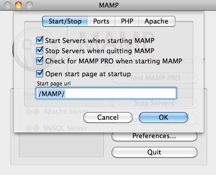 MAMP Start/Stop Screen