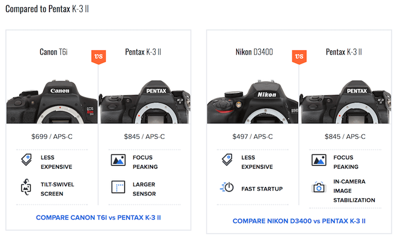Professional digital camera feature comparison on Imaging-Resource, secondary view